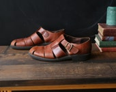 Mens Leather Sandals Bohemian Fashion US Mens Size 11 Casual Shoe Vintage From Nowvintage at Etsy