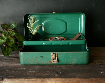 Vintage Tackle Box or Rustic Tool Box Gift for The Fisherman Gift For Him Green Expandable Vintage From Nowvintage On Etsy