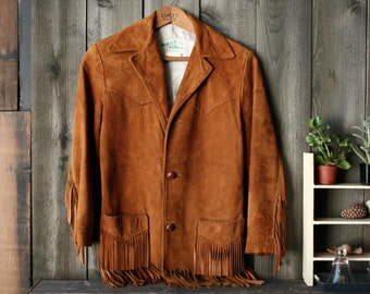 Leather Coat With Fringe Bohemian Fashion Tan Suede Leather Jacket Tregos West Wear lined 1950s Vintage From Nowvintage on Etsy