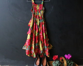 Bohemian Sundress Vintage Red and Yellow Pintucked Top Tiered Body From Nowvintage on Etsy
