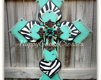 Wall CROSS - Wood Cross - X-Large - Antiqued Turquoise with Safari Zebra, iron cross, and large turquoise iron rose