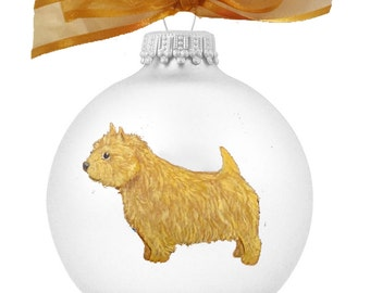 Norwich Terrier Dog Hand Painted Christmas Ornament - Can Be Personalized with Name