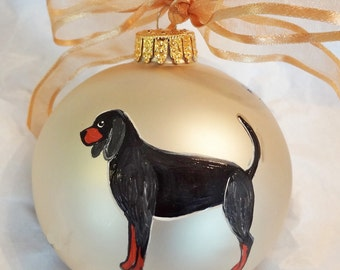 Black and Tan Coonhound Dog Hand Painted Christmas Ornament - Can Be Personalized with Name