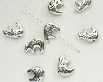 Pewter Southwestern Bear Beads Antiqued Silver Plated 15mm - 8