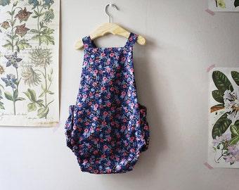 Blue Floral Romper, Blue Floral Sunsuit, Baby Romper, Toddler Romper, Rifle Paper Co Floral Romper