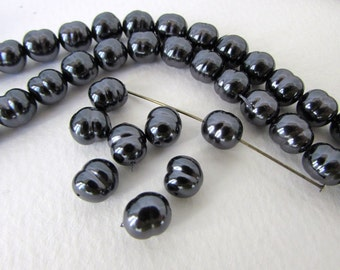 Vintage Japanese Glass Pearl Beads Black Baroque Rounds 8mm vgp0556 (8)