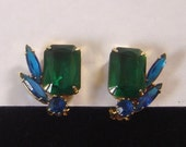 Vintage emerald green and sapphire blue Earrings gold tone setting