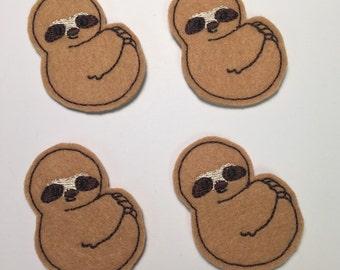 Sloth Embroidered Felt Applique