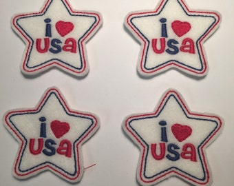 I Love USA Heart Star Red White Blue Patriotic July 4th Embroidered Felt Applique