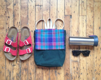 Purple Plaid Mini Backpack. Mini Canvas Rucksack. Green Mini Backpack Purse. Waxed Canvas Pack. Eco Friendly Bag. Gifts for Her.