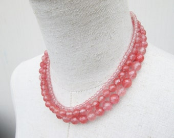 Cherry Quartz Triple Strand Beaded Necklace, Salmon Pink Coral Beads