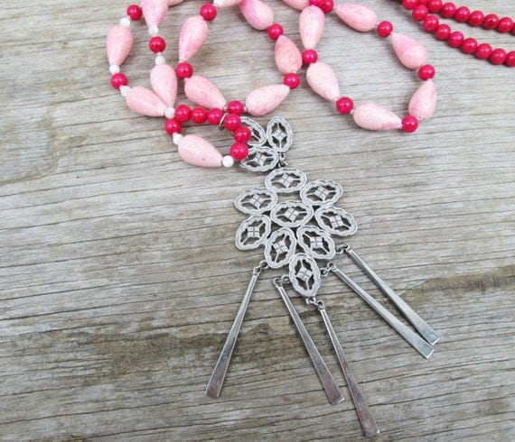 Long  Hot Pink Beaded Festival Necklace, Vintage Moroccan Pendant