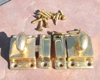Pair of Cast Brass Cabinet Turn Latches