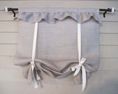 CUSTOM Order for AMANDA    Ruffled Neutral Burlap Tie Up Shade Custom Made to Order Tie Up Curtain Swag Balloon