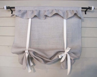 Ruffled Neutral Burlap 48 Inch Long Tie Up Shade Custom Made to Order Tie Up Curtain Swag Balloon
