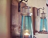 Lantern pair wall decor, lighthouse lanterns, nautical lanterns, wall sconces, housewarming gift,  wrought iron hook, rustic wood boards