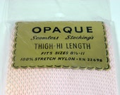 Vintage NOS 1960's Pink Thigh High Seamless Fishnet Stockings