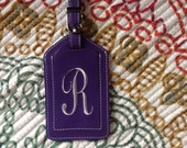 One Purple Tag with Embroidered White R ~ Ready to ship ! Personalized Leather Luggage Tag