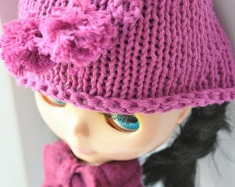 Cute raspberry pink hand knitted cotton hat for Blythe Doll