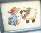 Mary Had a Little Lamb, Vintage Cross Stitch Picture, Framed Picture, Girl with Sheep, Handmade, Blue Frame, Home Decor,Nursery Decor,Unique