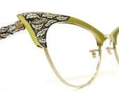 Vintage Green Pointy Cat Eye Eyeglasses Frame Decorative  Leaves 12kt gf