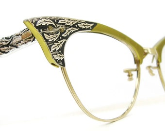 Vintage Green Pointy Cat Eye Eyeglasses Frame Decorative  Leaves 12kt gf