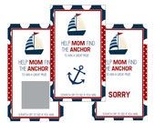Set of 12 Scratch Off Game Cards for Baby Showers with Sail Boat in Navy Blue and Red SC161
