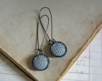 Grey Iridescent Glass Button Earrings Opalescent Recycled Jewelry
