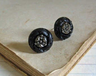 Black Glass Post Earrings Vintage Button Stud Jewelry