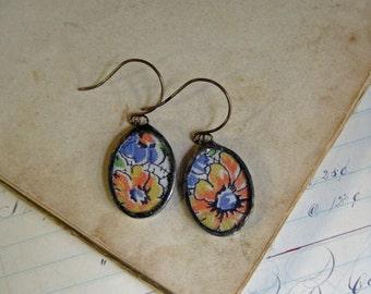 Vintage Hanky Earrings Soldered Jewelry