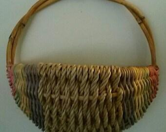 Pastel Striped Hanging Basket