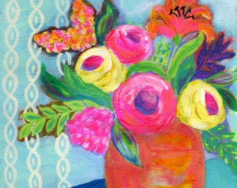 "Fall Colors Flowers in Vase, Art Print 8x10, ""October Morning"" Pink, Orange, Yellow Abstract Flowers, Print from Original Painting"