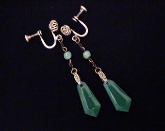 Vintage Art Deco Sterling Green Glass Drop Earrings