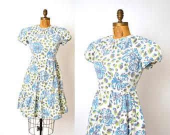 1930s dress / blue floral cotton dress / 30s dress