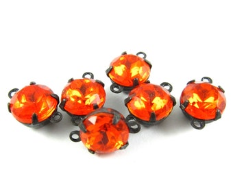 6 - Set Stones Vintage Glass Round Stones Closed Back Brass Prong Setting Fire Orange - 8mm