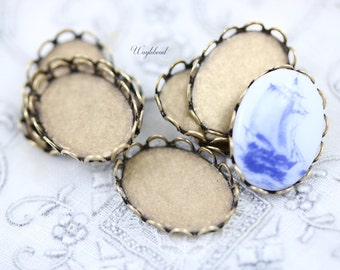 18x13mm Antique Brass Lace Edge Oval Settings - 8
