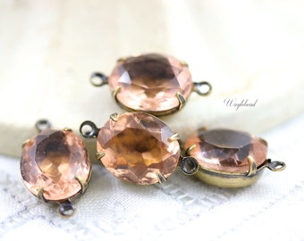 Unfoiled Rhinestone 12x10mm Vintage Glass Oval Stones Earring Drops Connectors Brass Prong Settings Rosaline Pink - 4