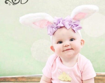 Spring Pink and White Easter Lavendar Bow Bunny Ears Stretch Headband GREAT PHOTOGRAPHY PROP