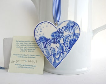 Porcelain  Heart -  Blue and white Floral -Valentine- Dutch  Delft Blue Wall hanging/ornament -  Mother's Day