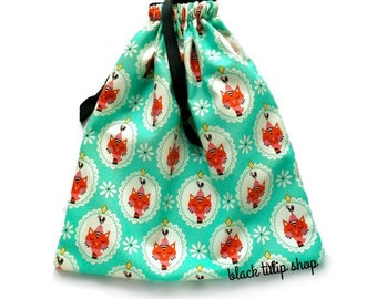 Retro Cat Pouch Drawstring Bag Small Teal Blue Green Makeup Travel Pouch Kids Room Nursery Decor Kawaii Jewelry Bag Handmade Cotton Gift Bag