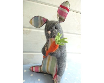Bunny and Carrot downloadable softie pattern