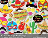 Cinco de Mayo Fiesta printable photo booth props, sombrero, poncho, luchador masks, Mexico fiesta party decoration instant download PP023