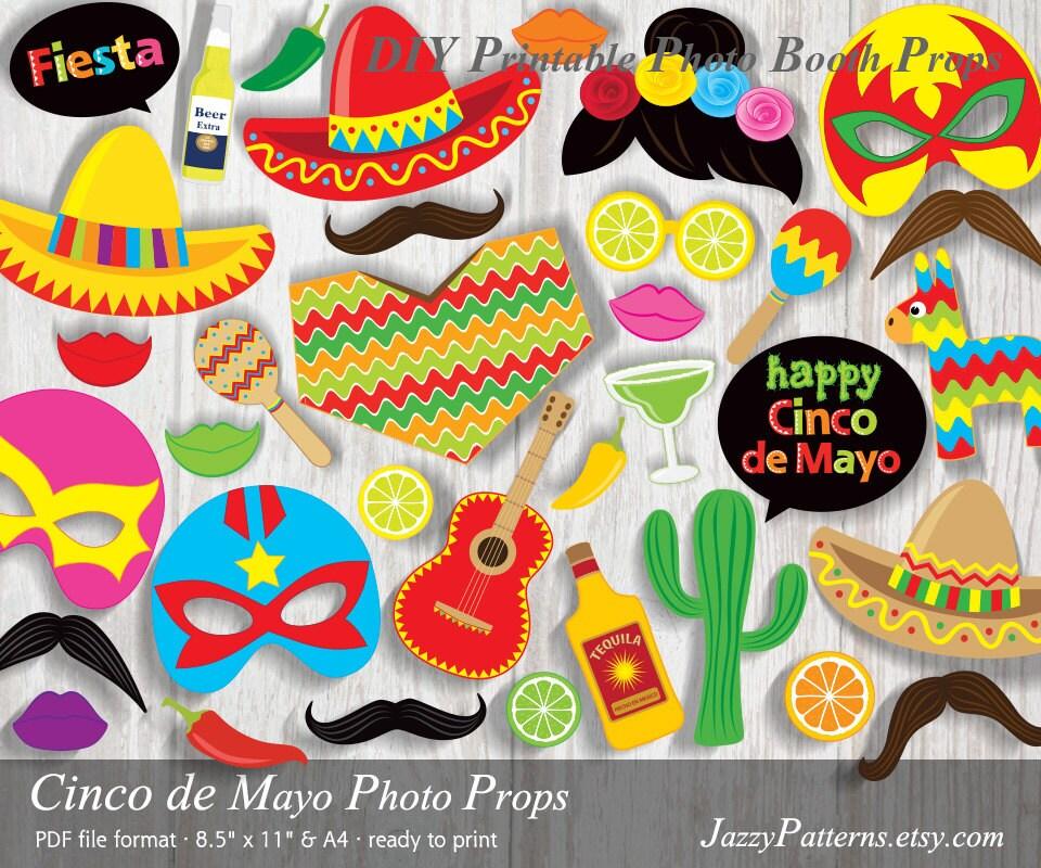 cinco de mayo fiesta printable photo booth props sombrero poncho luchador masks - Fiesta Decorations