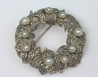 Sterling Marcasite Faux Pearl Wreath Circle Judith Jack Brooch