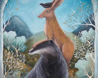 SALE!    Limited edition giclee of The Badger, the Hare and the Blackbird by Amanda Clark.