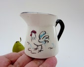 Vintage Creamer - Rustic Small Pitcher - Farmhouse Mini Pitcher - Hand-Painted Rooster Creamer - Grantcrest Made in Japan