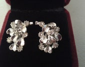 Earrings - Silver Colored Metal Pierced Earrings in Bouquet with White Gems