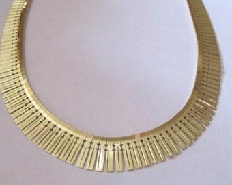 Sale - Solid 14K Yellow Gold 1970's Italian Cleopatra Statement Necklace Collar - 33.1 grams