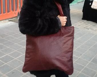 large burgundy leather bag, upcycled leather bag, recycled leather, man bag, diaper bag, large tote bag, large leather bag