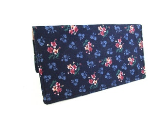 Navy Blue with Mauve Flowers Handmade Fabric Checkbook Cover / Washable